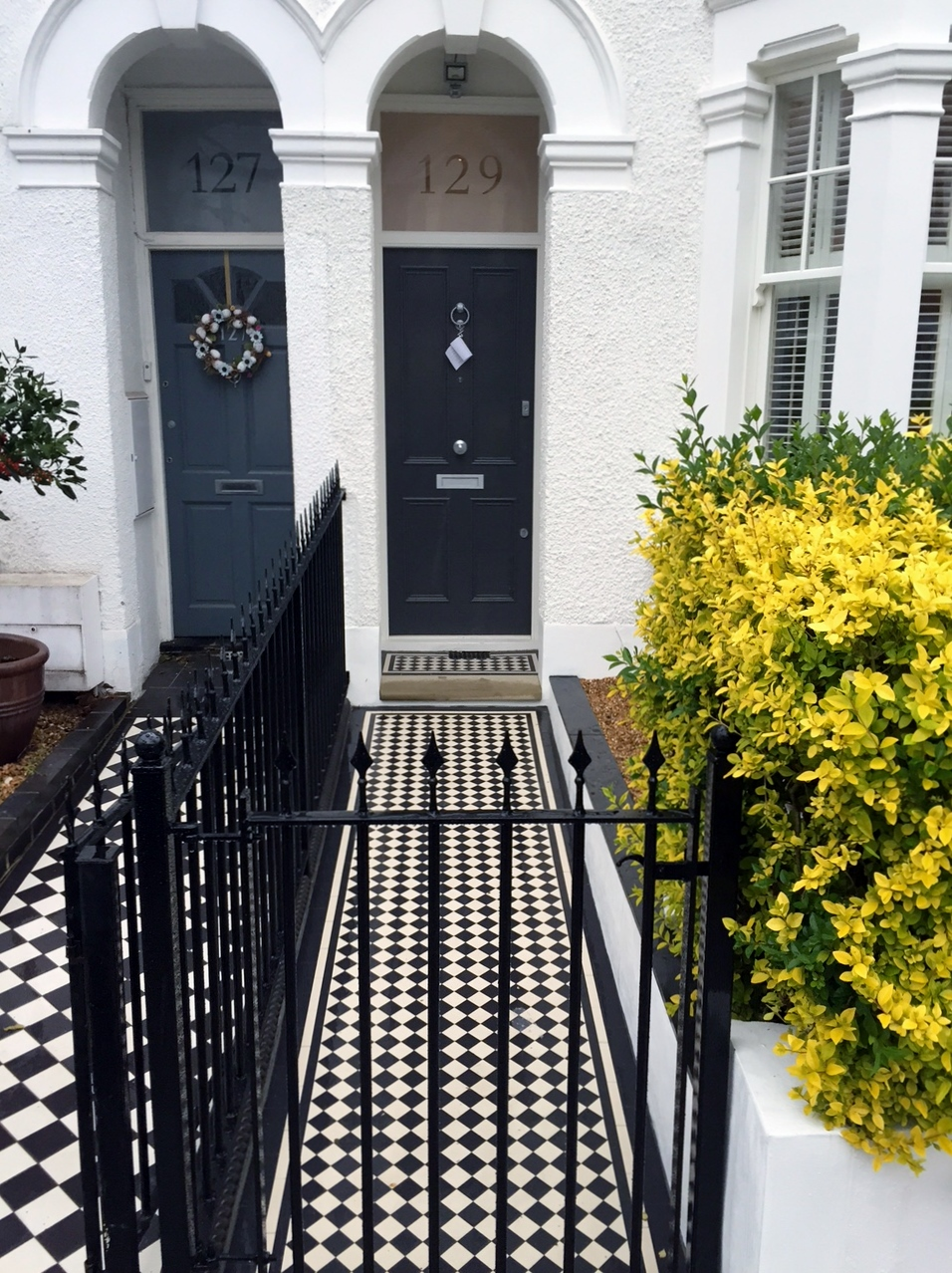 balham  dulwich clapham victorian mosaic tile path with metal rail and gate yorkstone entrance stone
