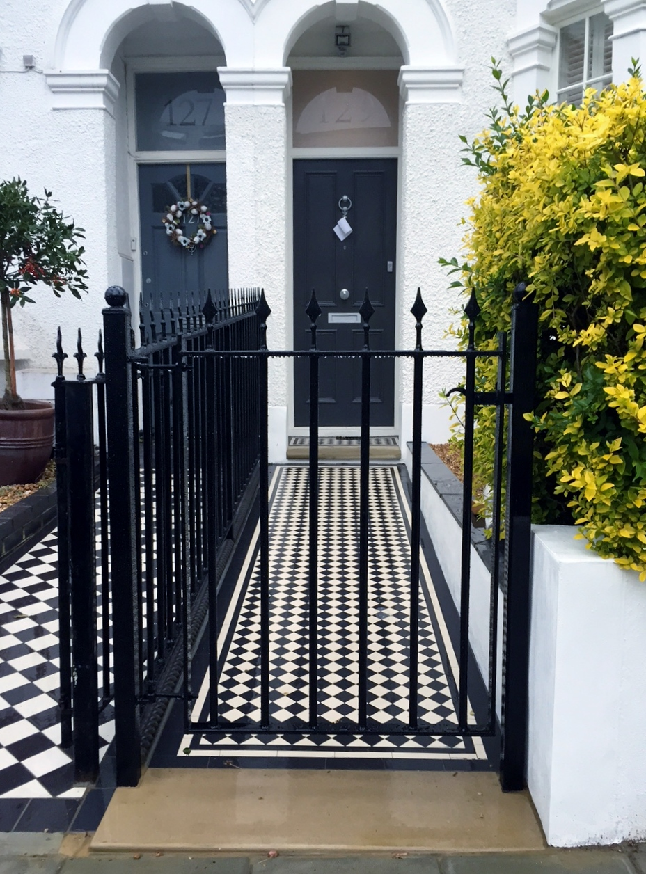balham victorian mosaic tile path with metal rail and gate yorkstone entrance stone