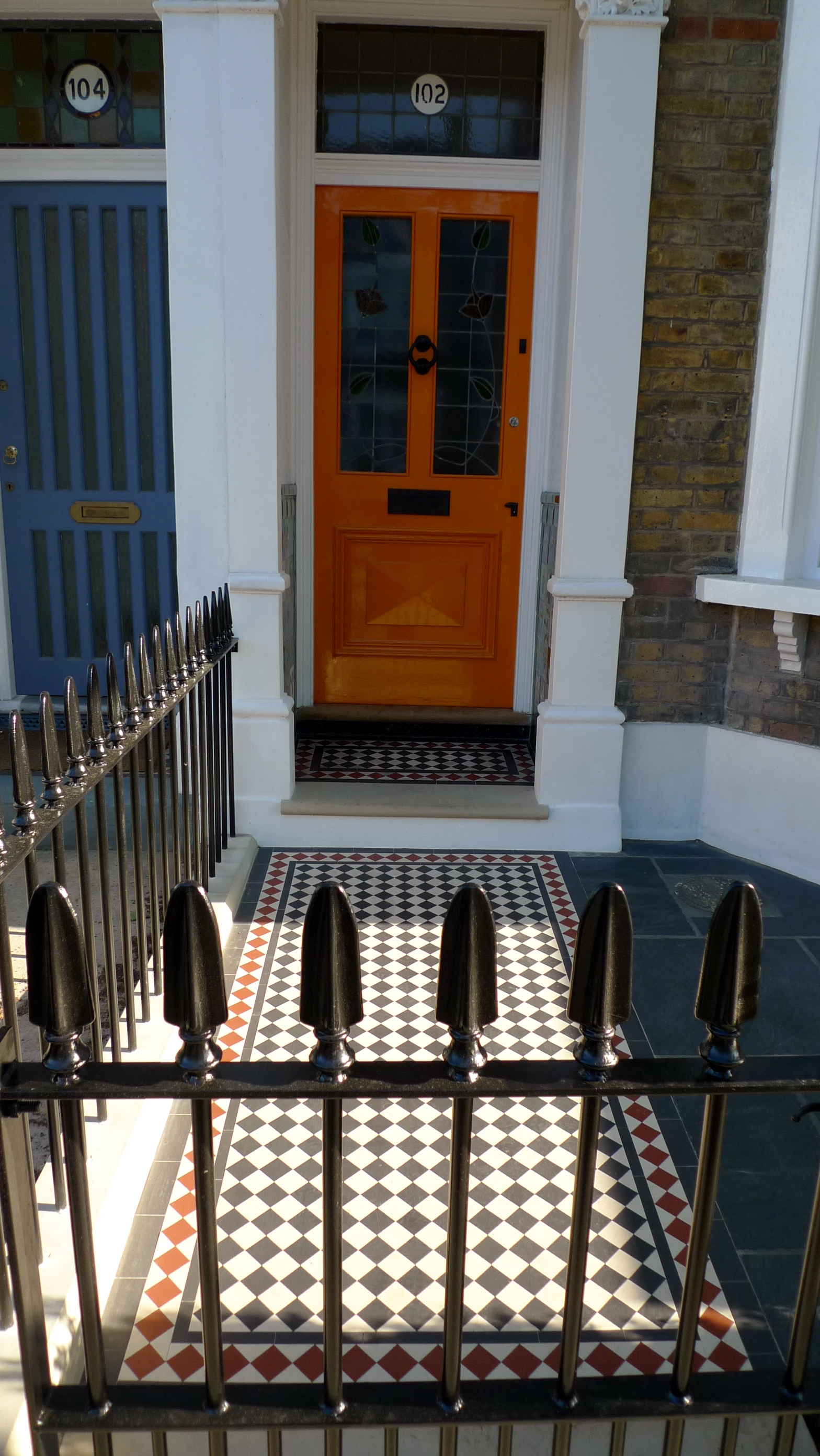 victorian front garden company front door gate mosaic rail yellow brick wall slate paving battersea chelsea fulham clapham london