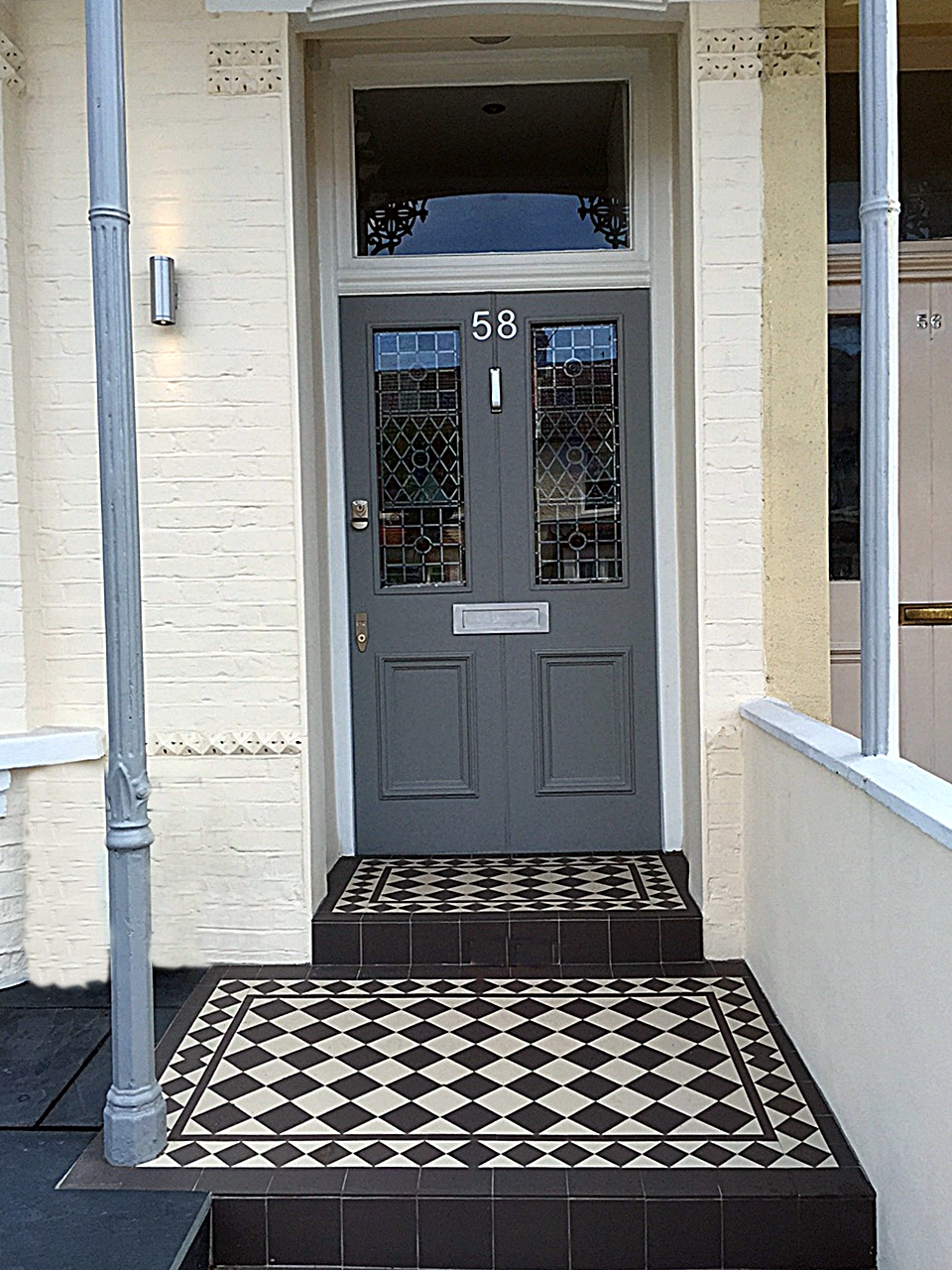 Victorian front garden mosaic tile path in grey and white and door porch earlsfield wandsworth london