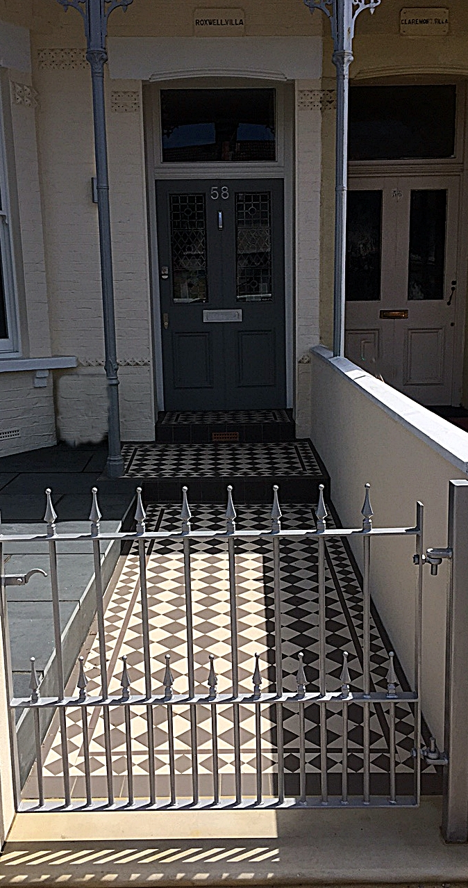 York stone entrance stone white and grey victorian mosaic tile path slate paving grey wrought iron gate wandsworth earlsfield putney wimbledon london