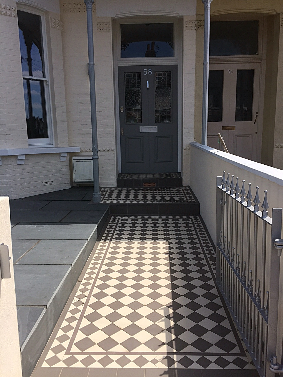 grey and whote classic victorian mosaic tile path wandsworth earlsfield fulham chelsea london