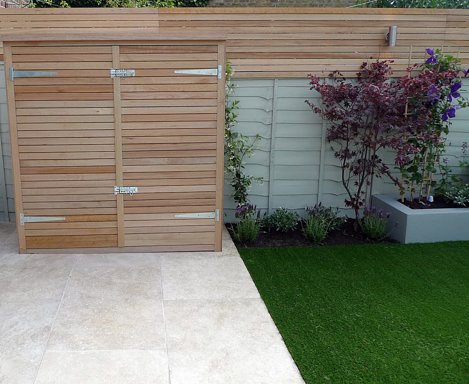 travertine cream paving bespoke storage bike shed dulwich clapham balham battersea fulham chelsea london