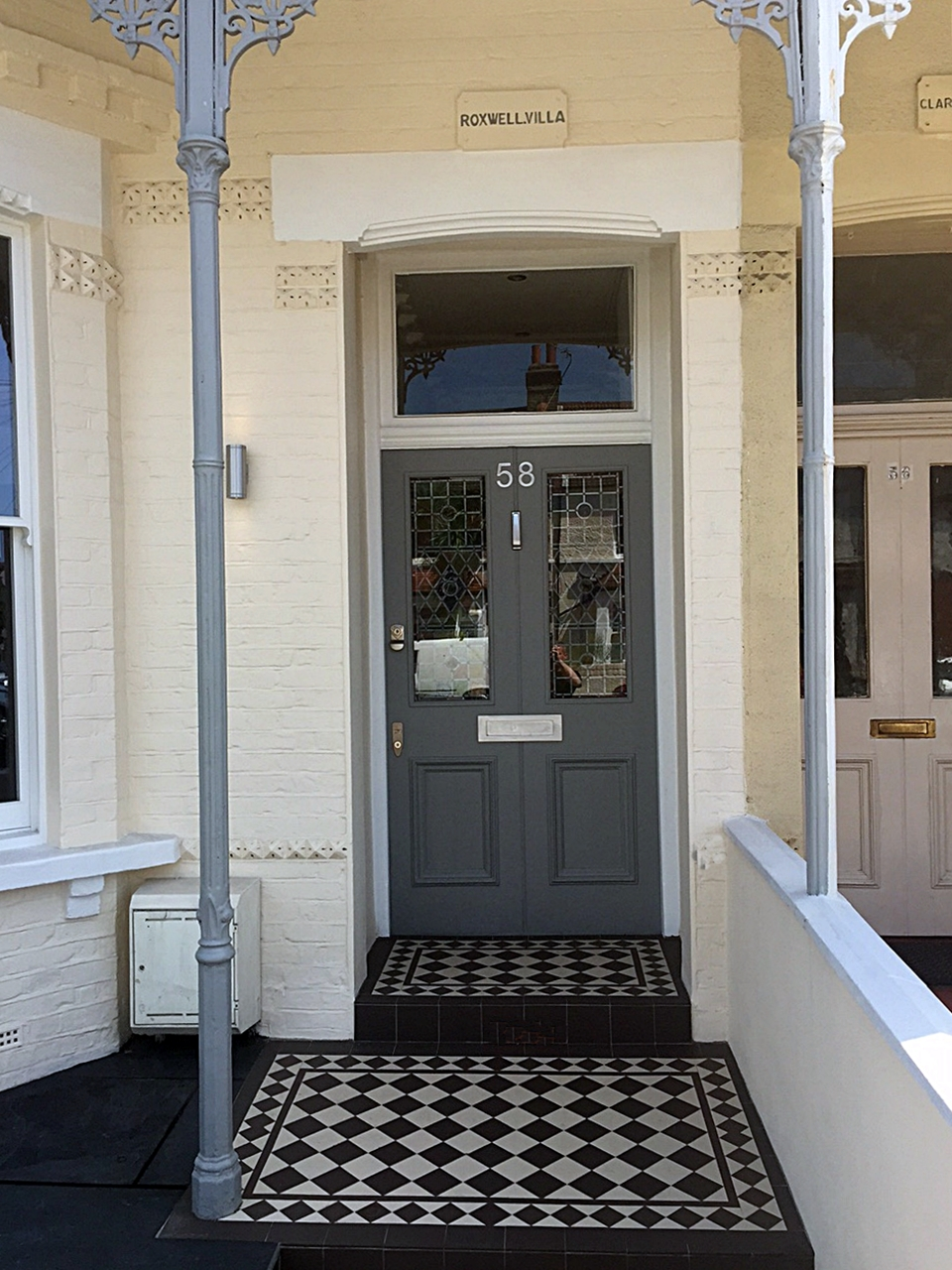 victorian steps and porch tiles grey and white  front garden company wandsworth fulham chelsea wimbledon london
