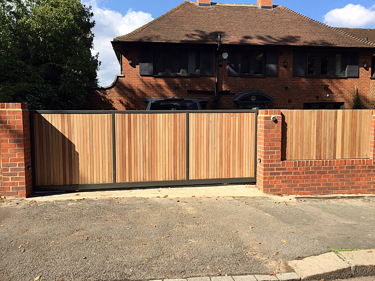Hardwood Automated Driveway Gate Red Brick Wall Front Garden Dulwich  Sydenham London