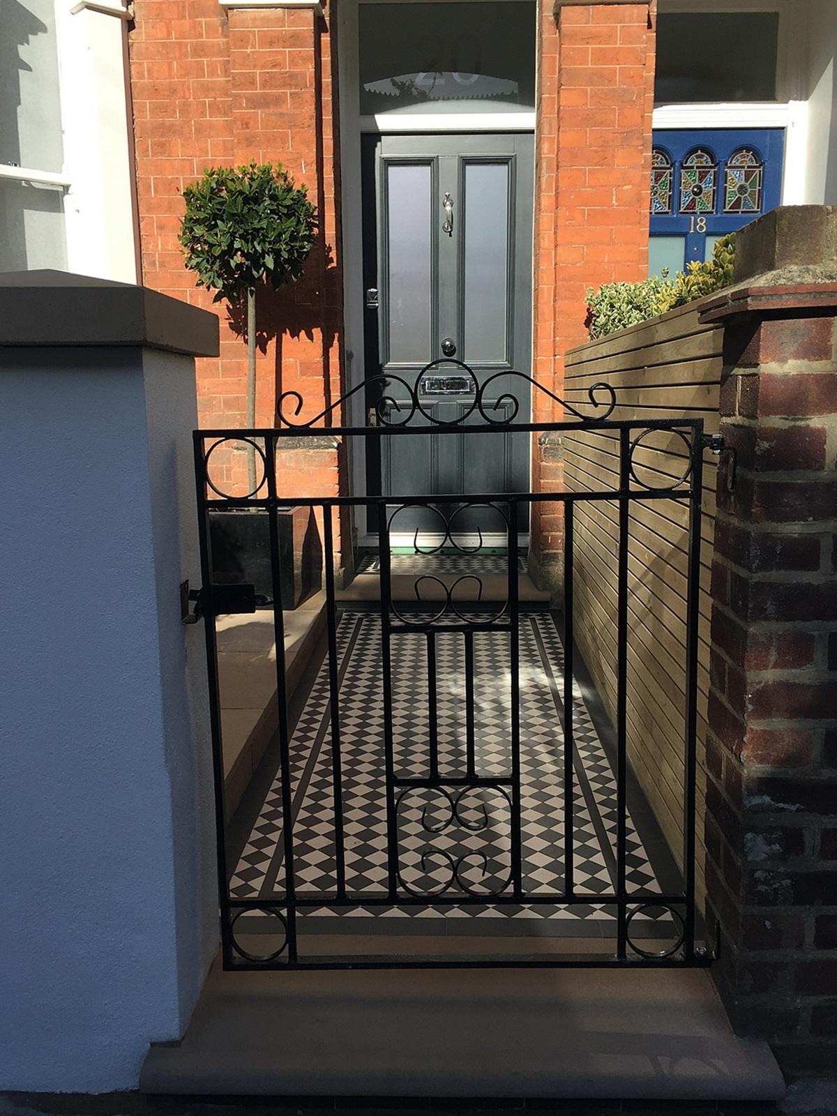 london victorian front garden company rail gate wall mosaic paving screen balham clapham dulwich fulham chelsea