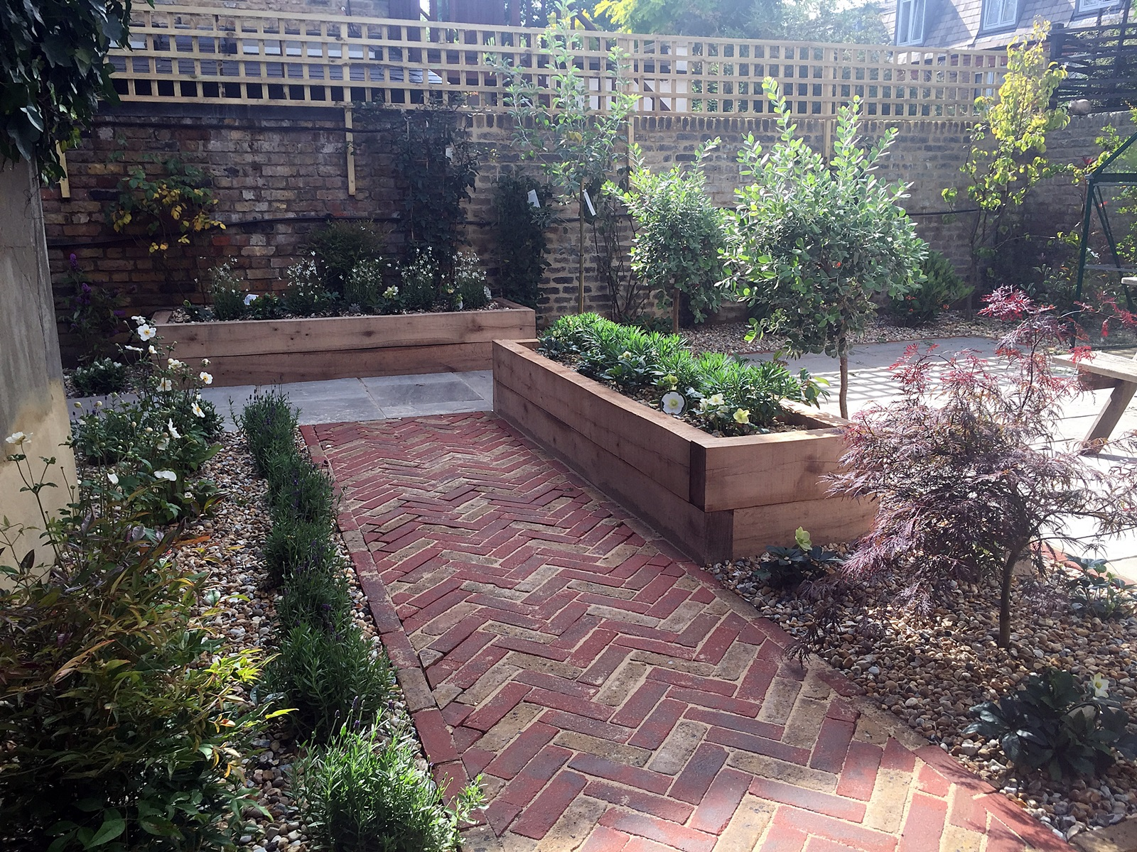 Modern Victorian Garden Brick Walls Herring Bone Brick Path Oak