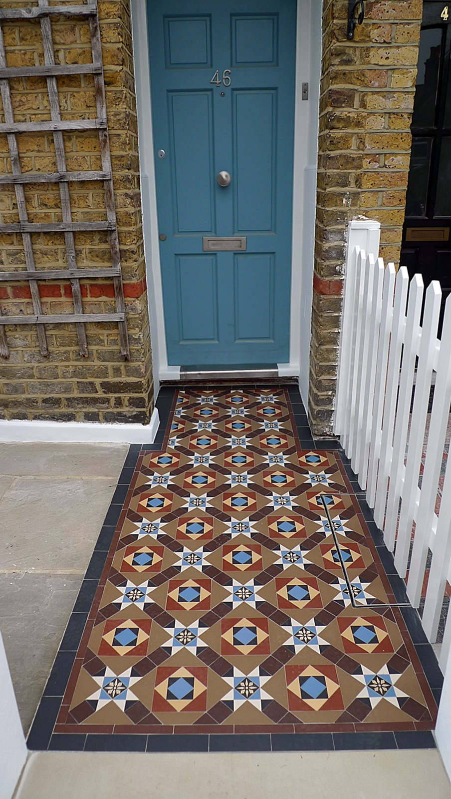 bowood 50 victroian mosaic tile path london front garden compnay anewgarden yorkstone paving picket fence wandsworth chelsea fulham kensington london