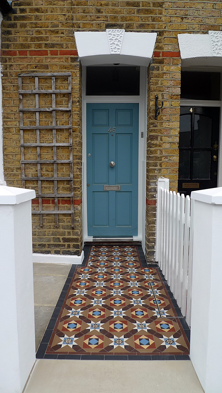 garden wall front garden company victorian edwardian mosaic tile path multi coloured encaustic tile york stone earlsfield wandsworth clapham balham dulwich