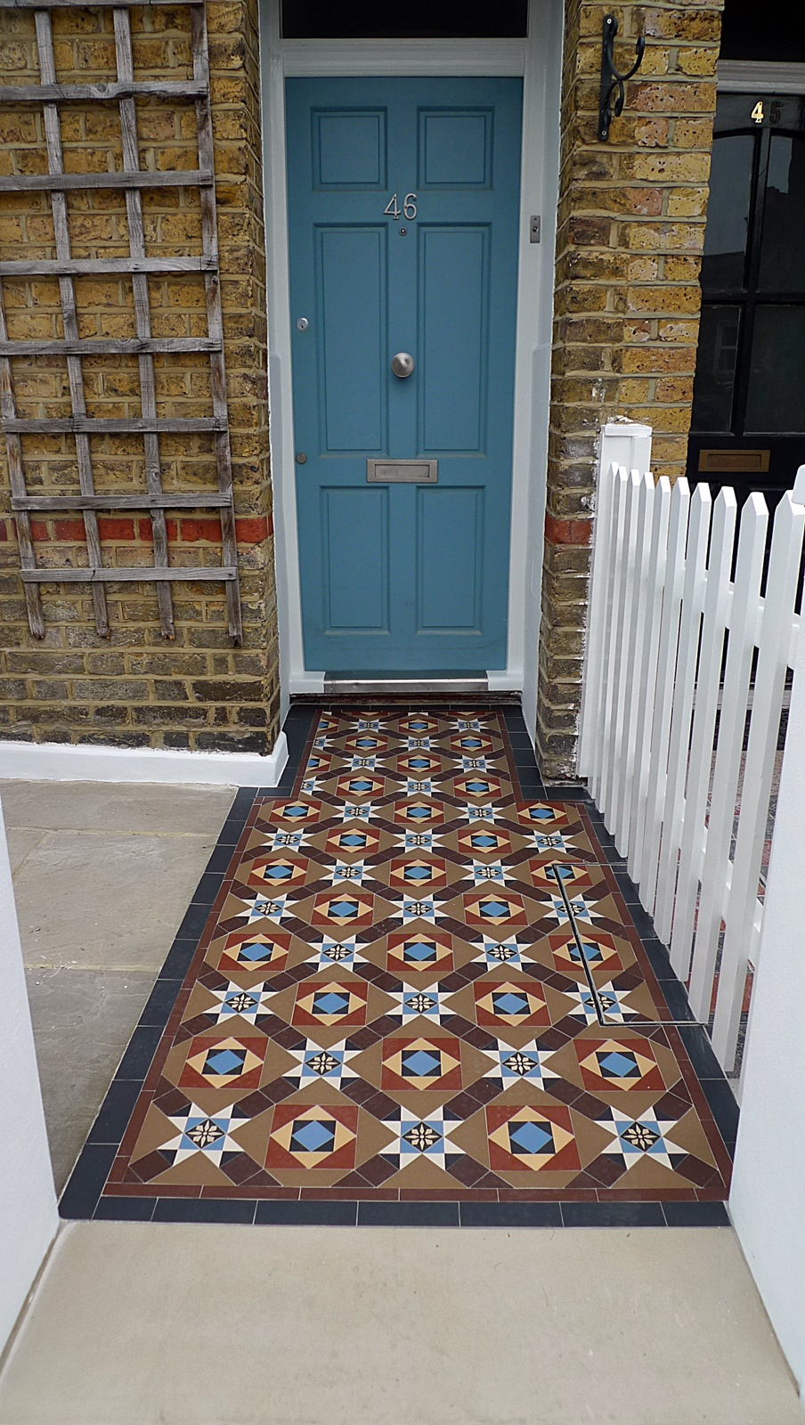 london front garden company victorian mosaic tile path york stone entrance stone sandstone paving earlsfiled wandsworth putney balham clapham london
