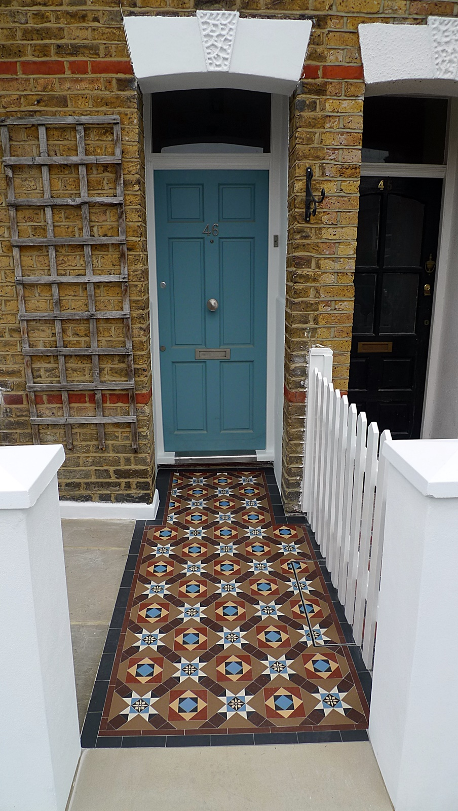 multi colour victorian mosaic tile path with Yorkstone earlsfield clapham battersea fulham chelsea london