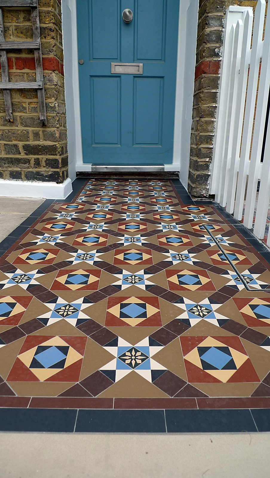 multi coloured victorian front garden mosaic tile path wandsworth earlsfield balham clapham dulwich battersea london