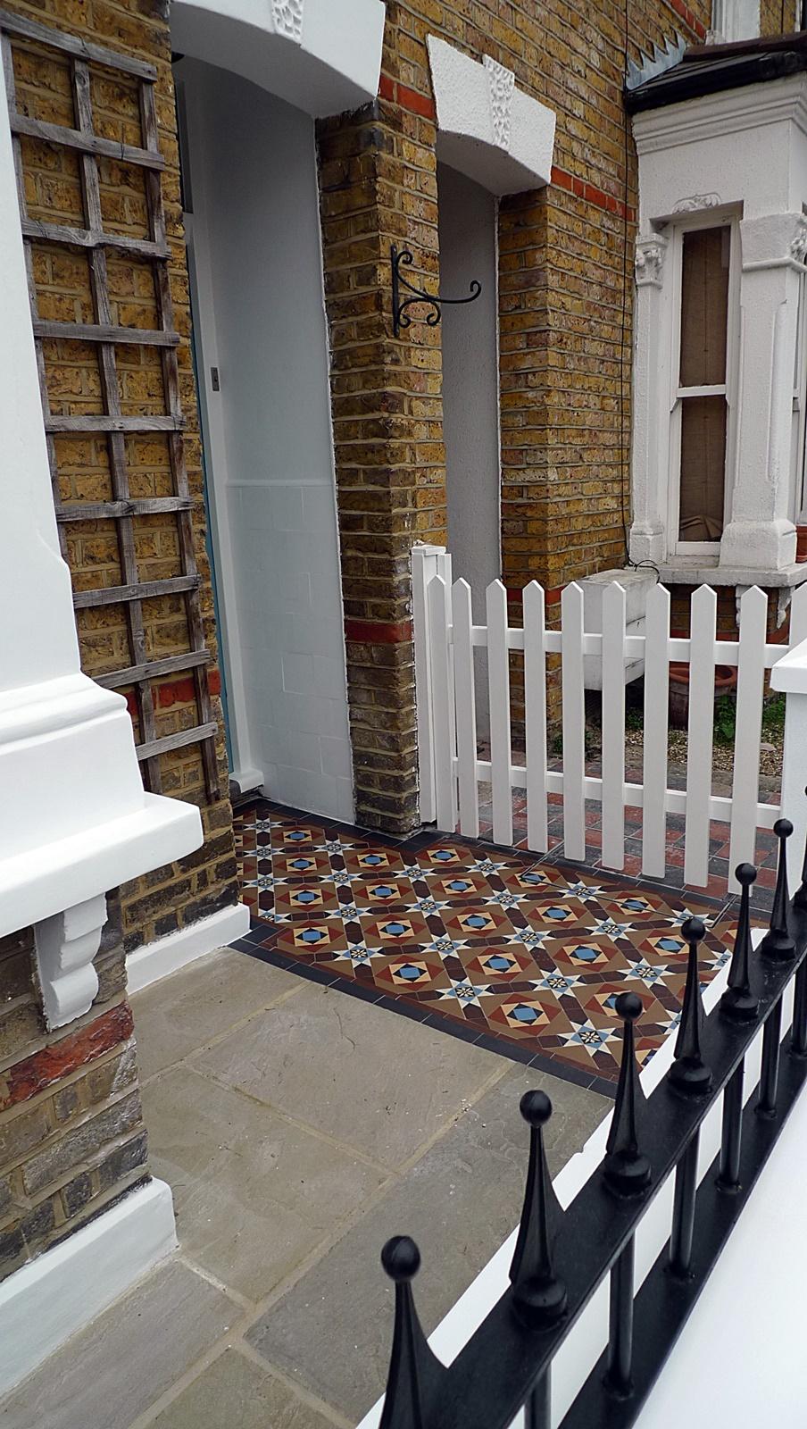 sandstone paving london front garden compnay victorian mosaic tile path mutil colour with encasutic tiles