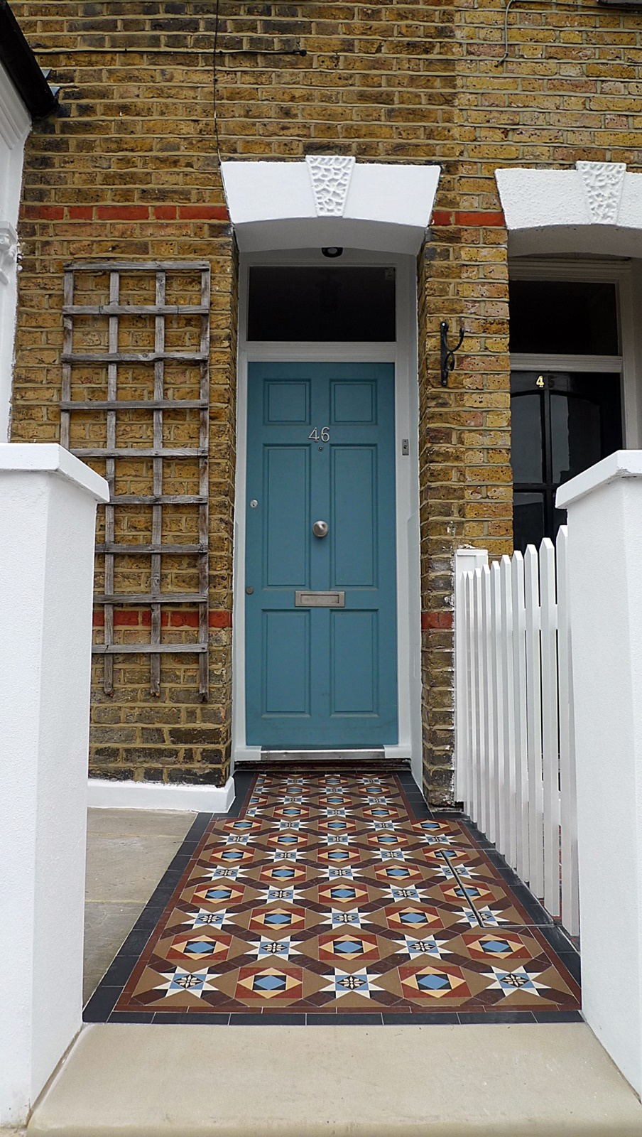 victorian mosaic london tile path multi colour encaustic yorkstone garden wall front picket fence earlsfield balham clapham battersea london