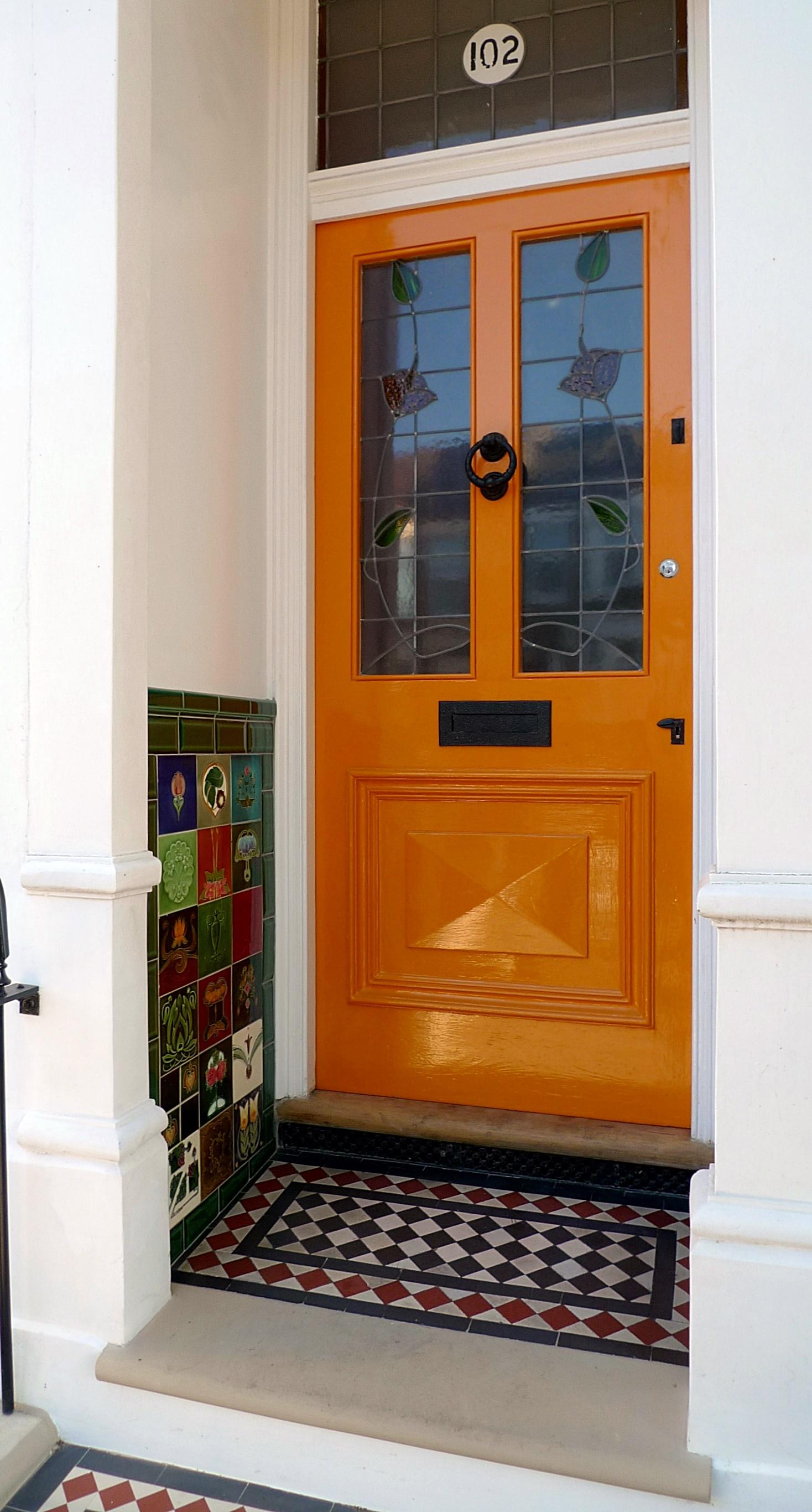 Entrance stone Victorian mosaic multi colour York stone garden design London Battersea Fulham