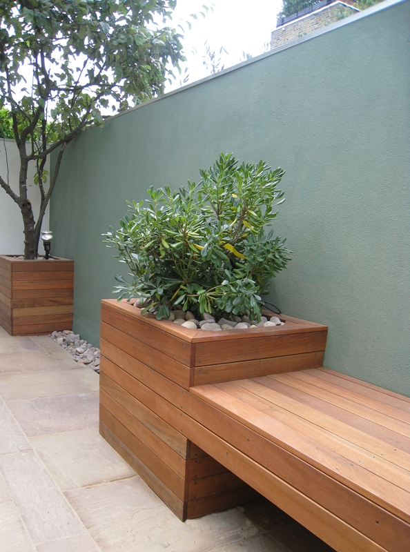 Floating bench new garden design planting London pebbles Balham Clapham