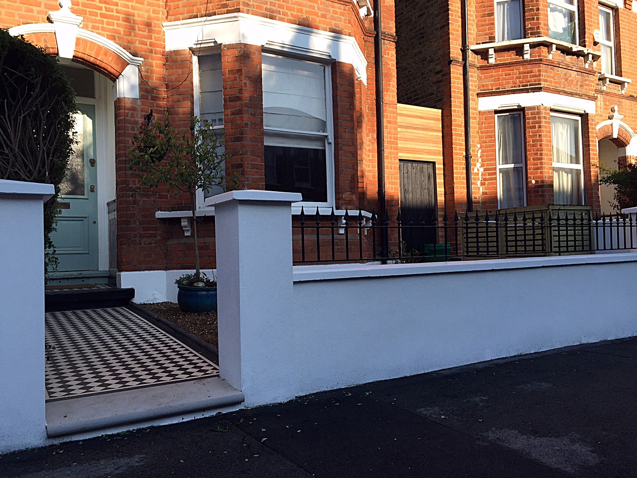 Front garden design Victorian mosaic metal rail London Battersea Wandsworth Clapham planting
