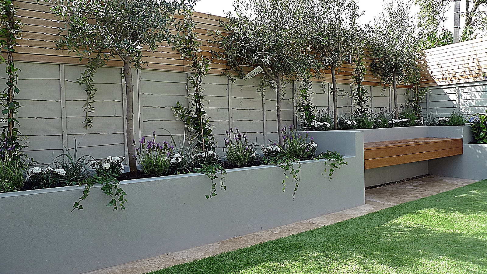 Charming Painted Trellis Ideas Part - 7: Articicial Grass Trellis Hardwood Painted Fence Dulwich Peckham Clapham  Balham Garden Design