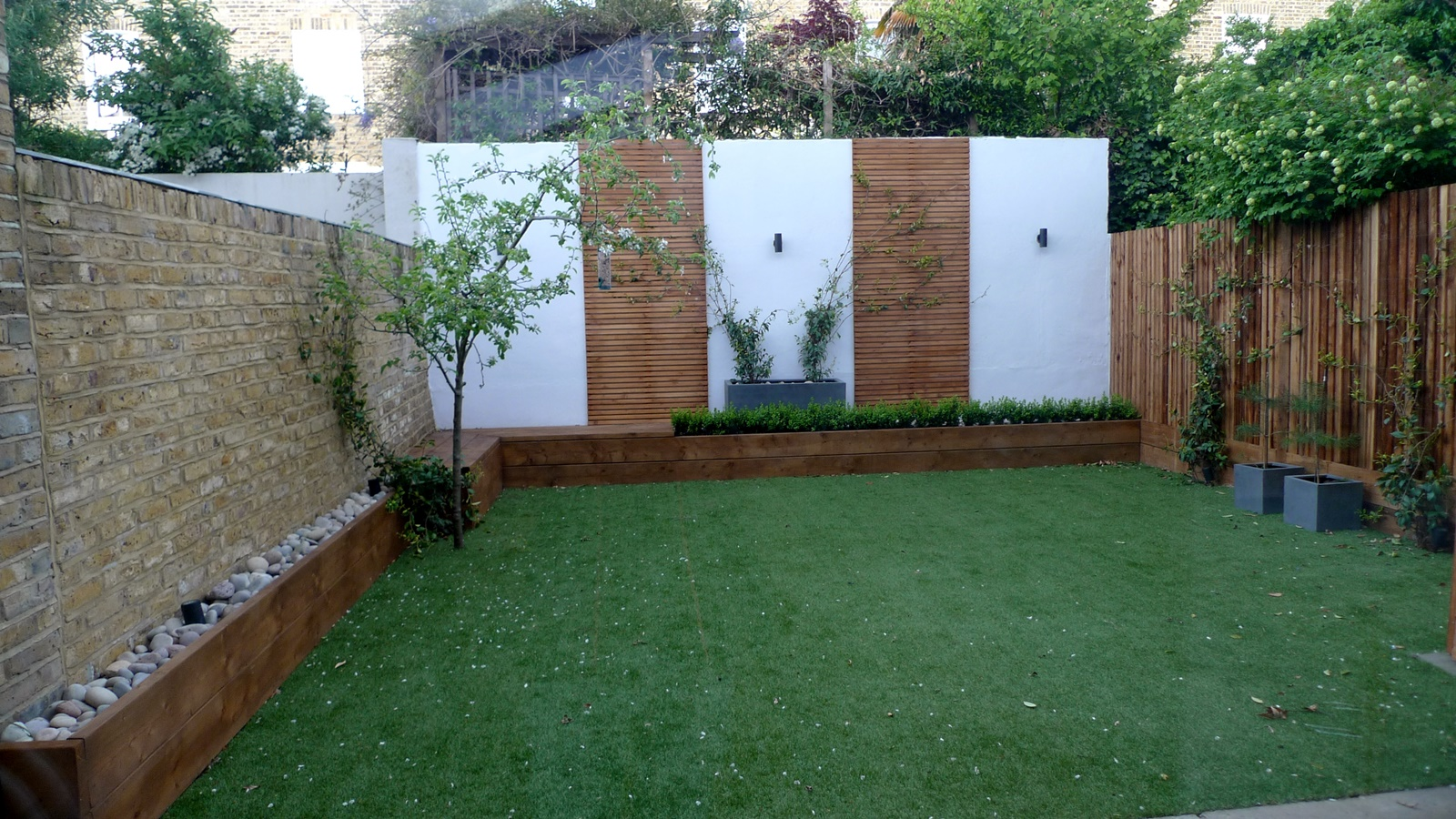 Pebbles artificial grass planting hardwood Wandsworth Battersea London