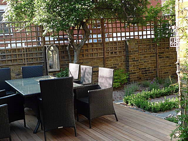 Trellis planting wood floor garden London Battersea brick garden wall