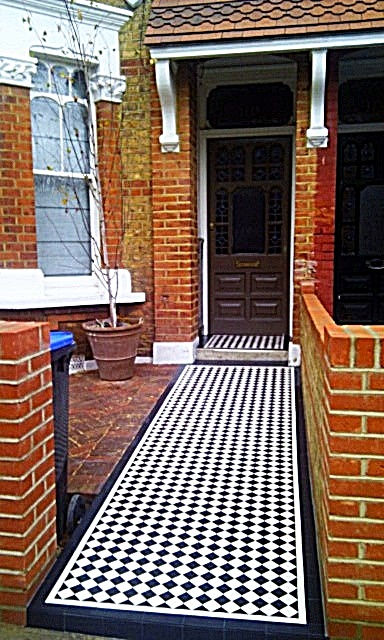 Victorian mosaic black and white yellow brick London Clapham Battersea front garden design