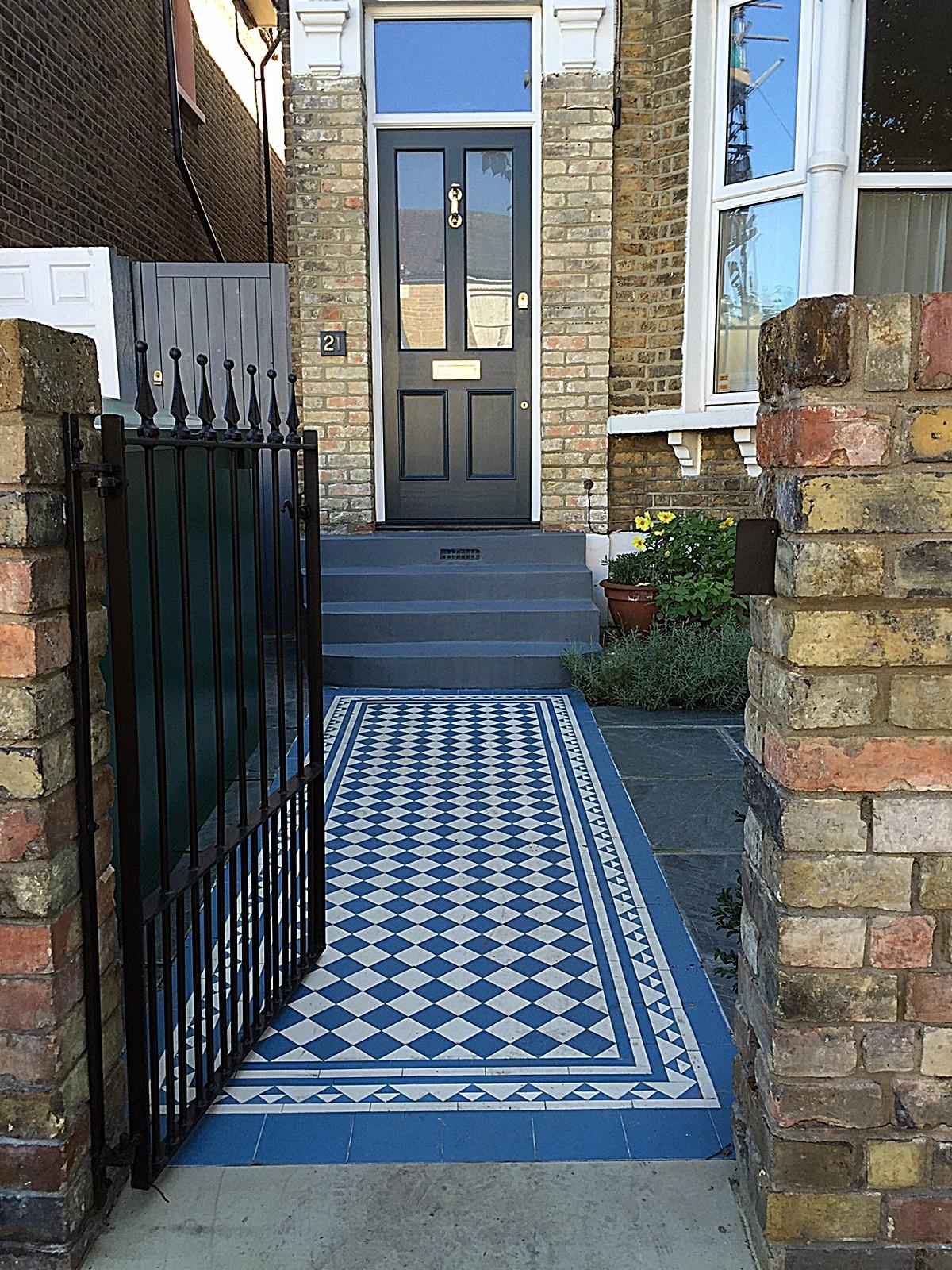 Wrought Victorian mosaic brick garden wall metal gate Balham Clapham York stone