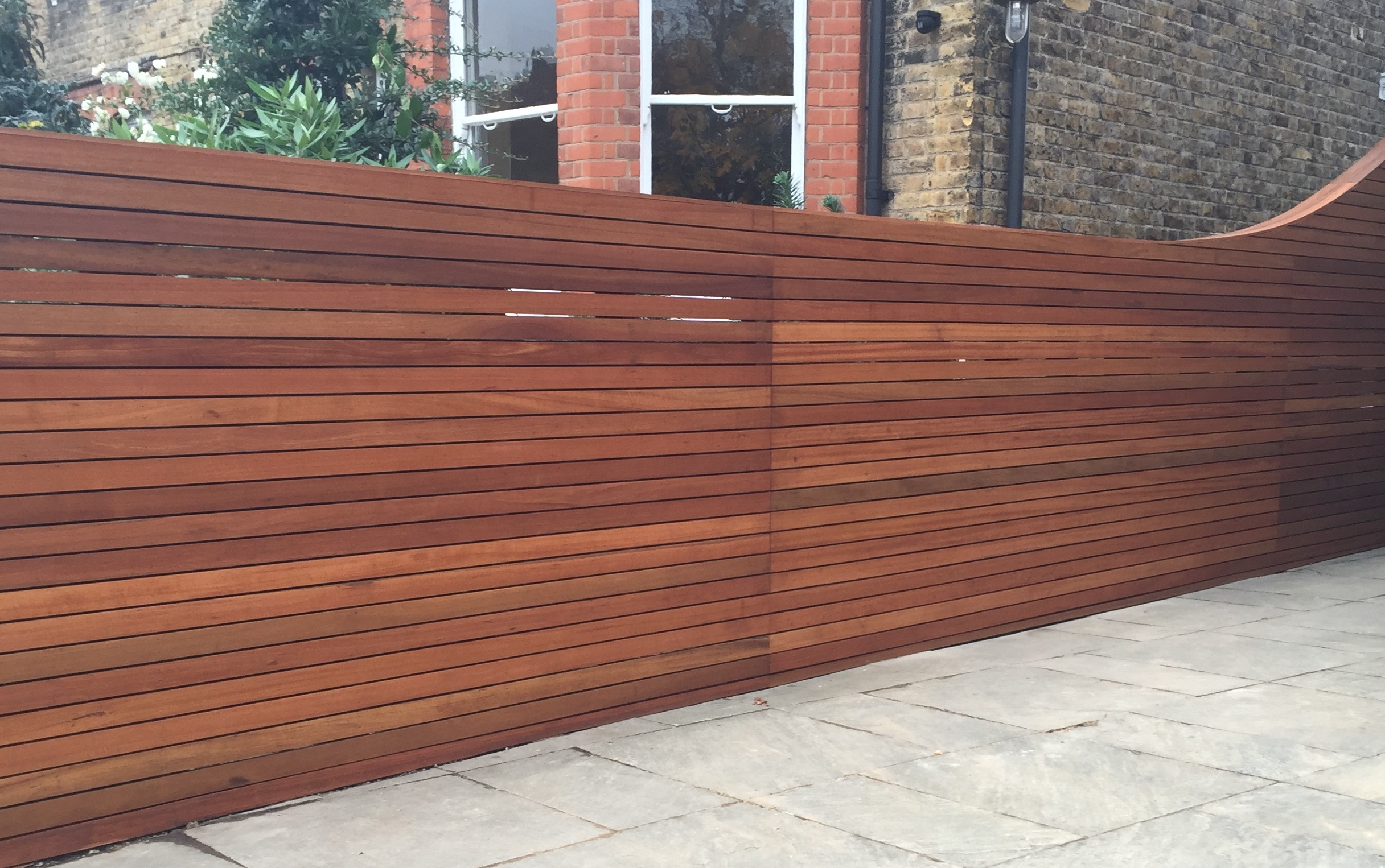 Horizontal cedar hardwood strip wood trellis screen