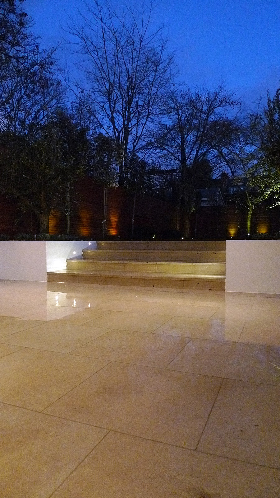 modern garden design night view garden cream smooth paving raised beds screen hardwood pleach trees balham clapham fulham chelsea kensington mayfair london