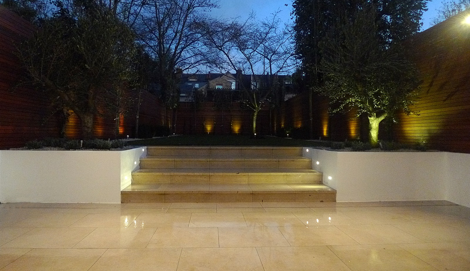 porcelain cream tiles raised render beds olive trees pleached flat trees hardwood screens wandsworth earlsfield fulham chelsea clapham battersea london