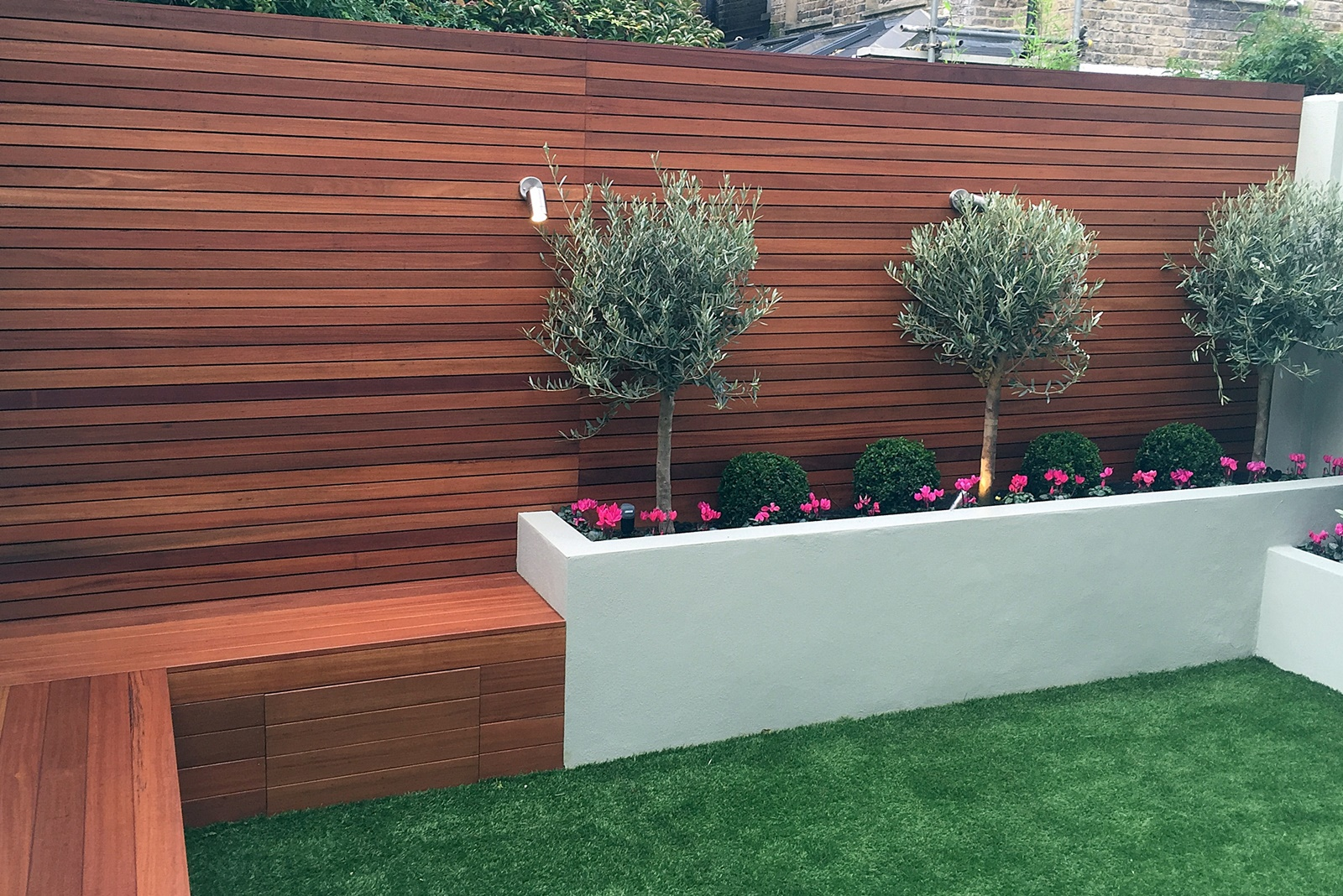 raised bed hardwood screen trellis privacy fence clapham battersea balham wandsworth london