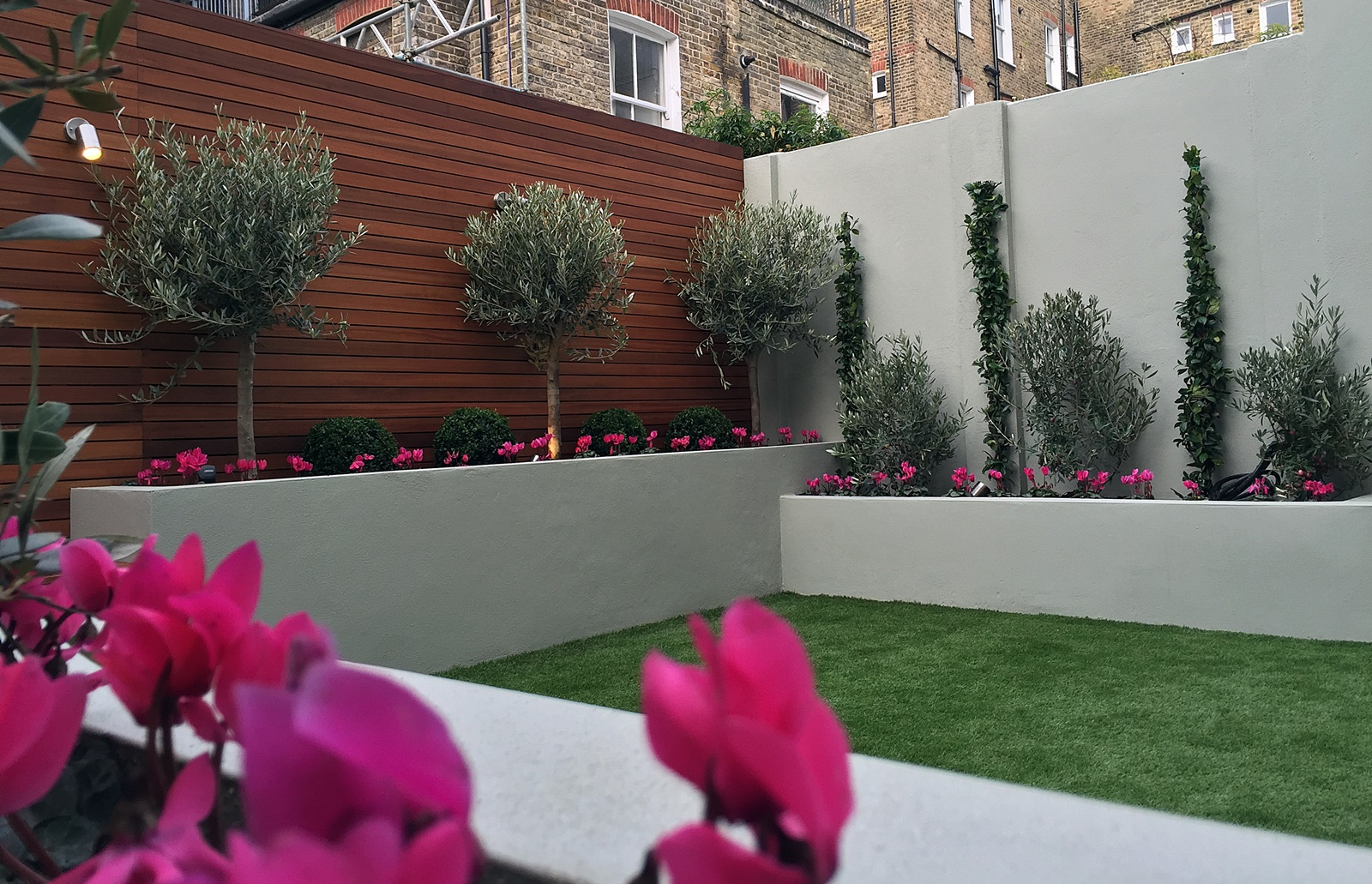 raised render block beds artificial grass lawn olive trees buxus topiary small modern garden designer desihn ideas battersea clapham balham dulwich london
