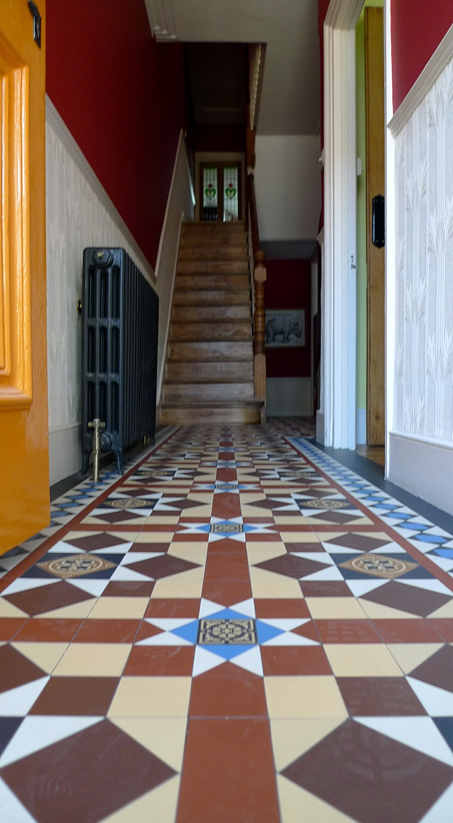 victorian hall way mosaic tile path multi colour design clapham balham battersea fulham chelsea london