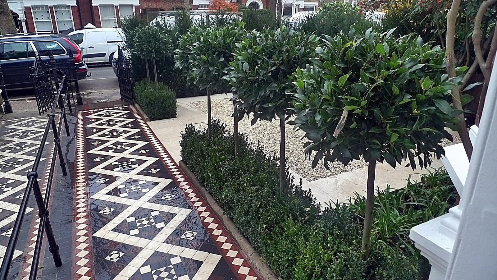 Bay trees London Balham Clapham multi colour mosaic planting topiary