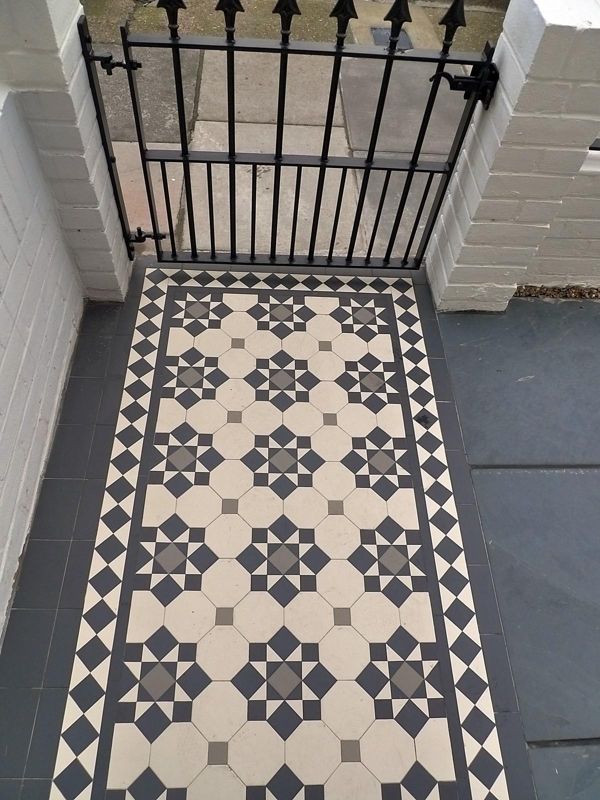 Black white grey Victorian Mosaic London Battersea Wandsworth Clapham Balham