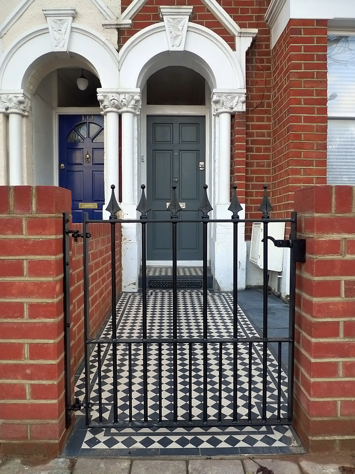 Front Garden Copmany London Earsfield Victorian mosaic path tile iron metal gate Balham Clapham
