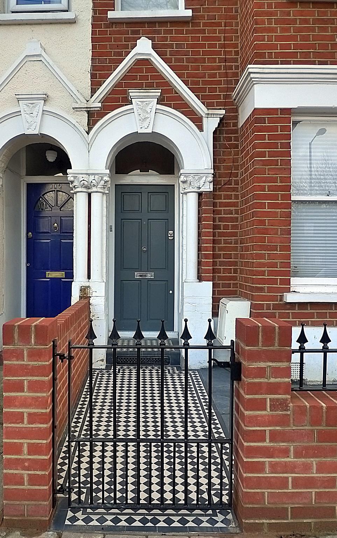 Front garden privacy red garden walls formal metal rail gate Victorian mosaic London Wandsworth Earsfield Battersea