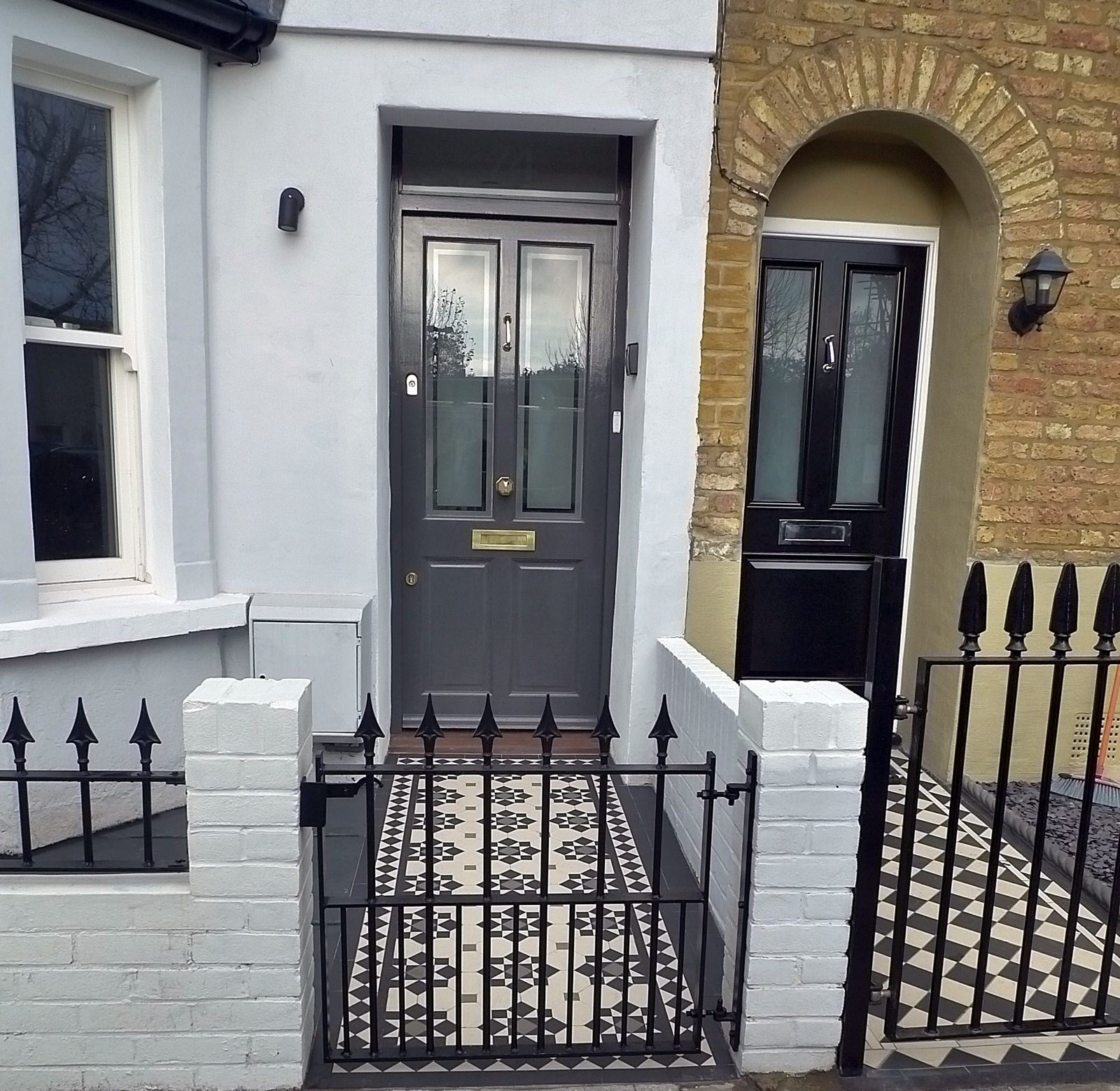 Grey white black Victorian mosaic brick render tile path bespoke London formal privacy Battersea Clapham Wandsworth Balham