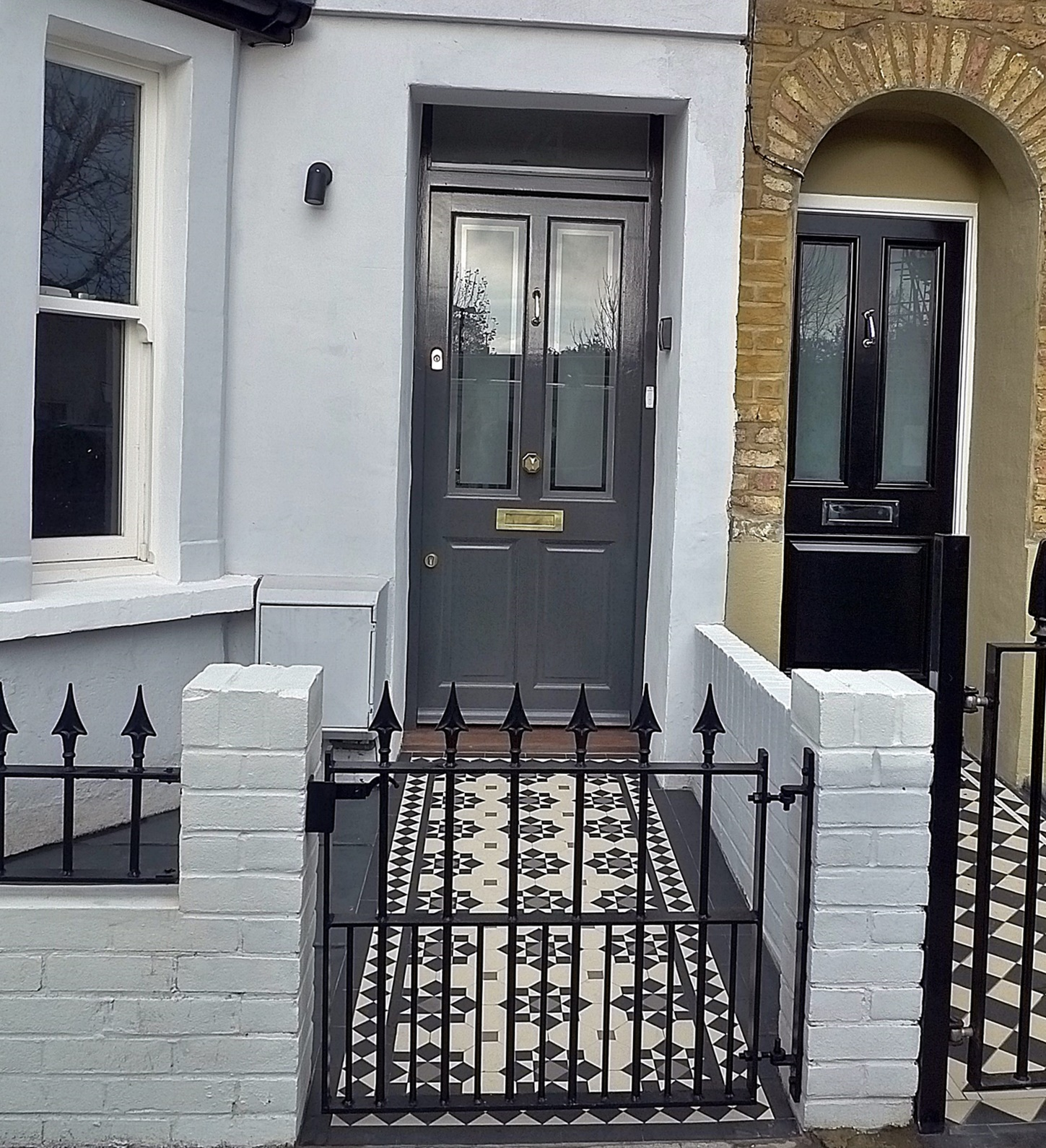 Multi colour Victorian mosaic formal design modern London Wandsworth Balham Clapham metal gate rail