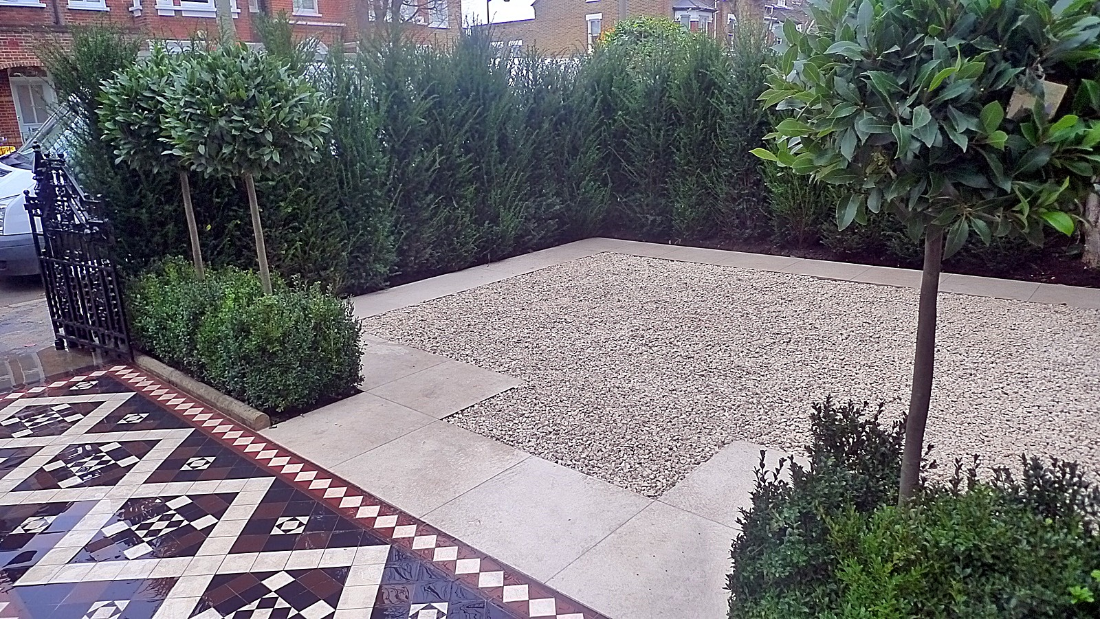 Planting topiary path tile Victorian mosaic Balham Wandsworth Clapham bay trees design