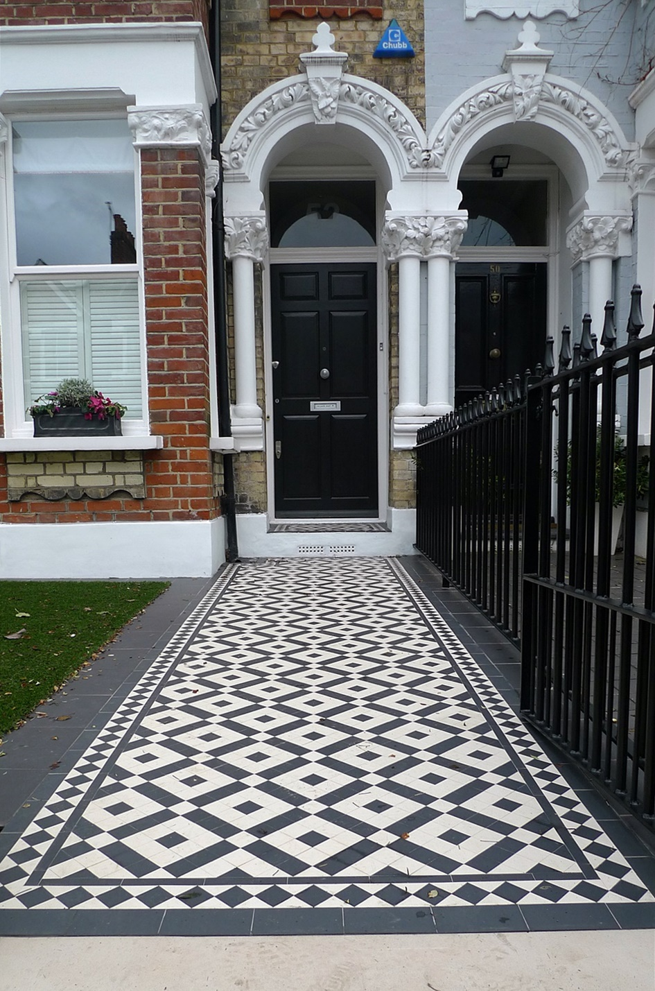 Black and white Victorian Mosiac London Clapham Balham
