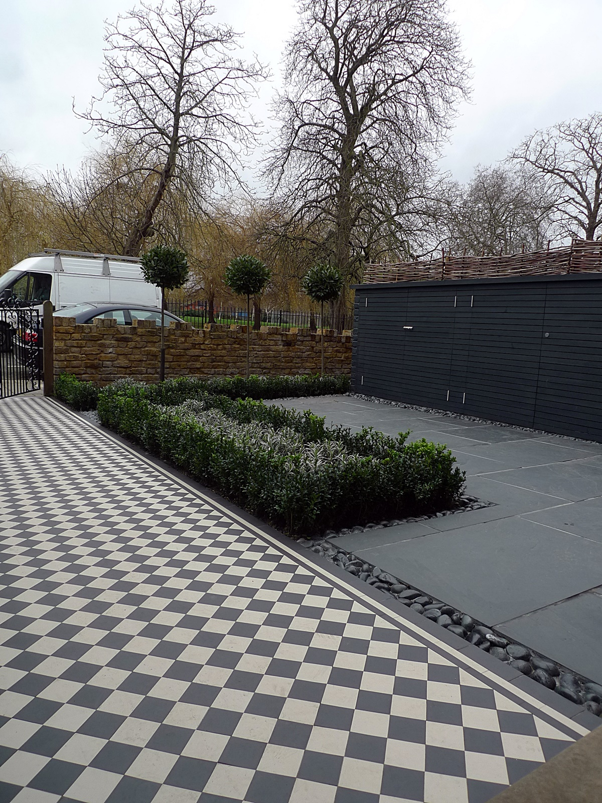 black and white victorian mosaic tile path sutton wimbledon south west london garden design