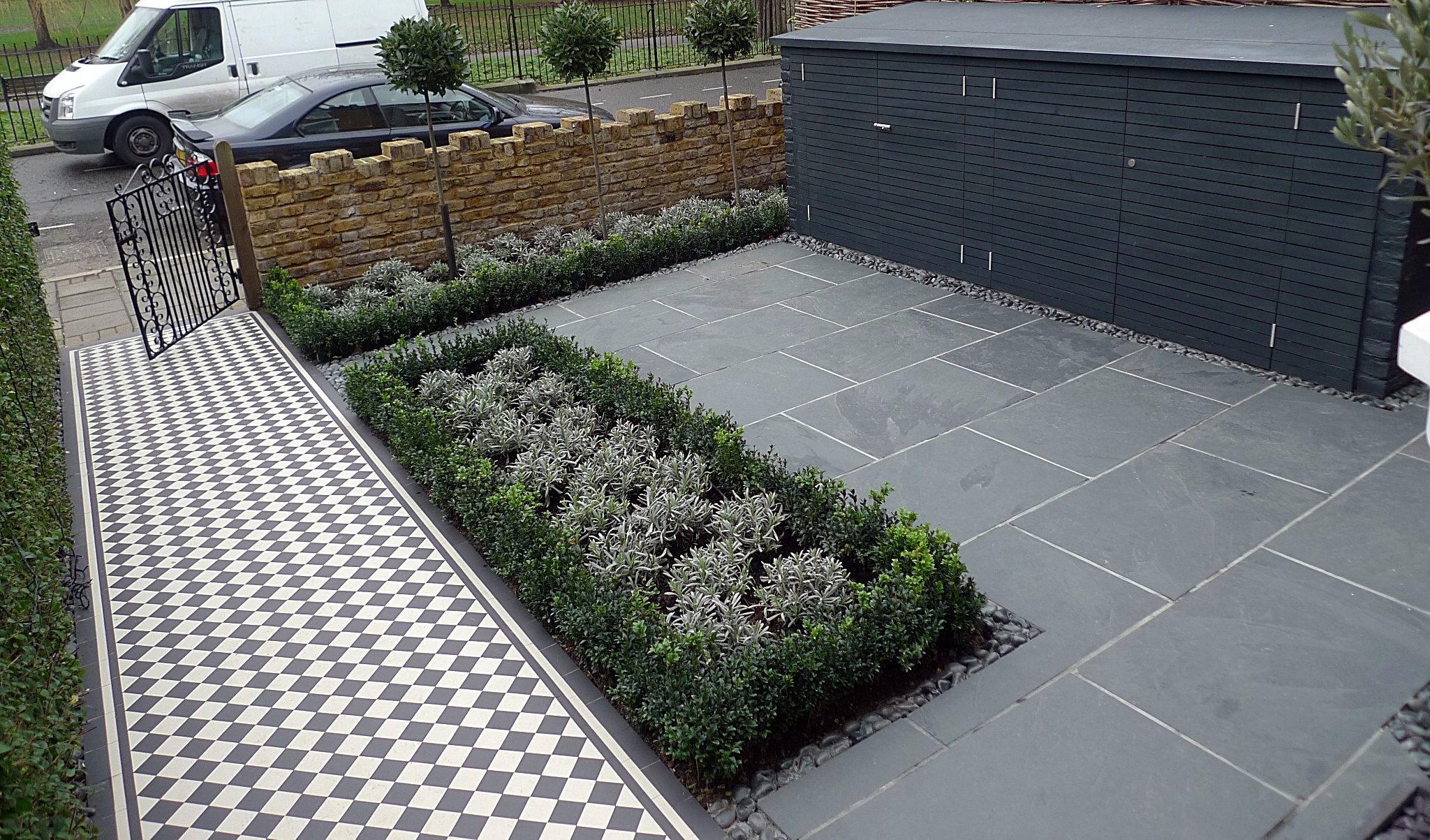 slate paving bespoke bin bike storage formal box hedge and lavender black and white victroain mosaic tile path clapham balham battersea streatham putney london