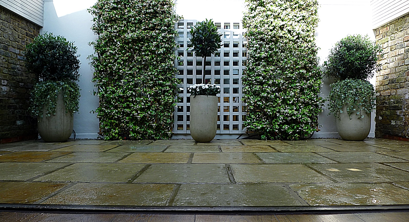 Courtyard minimalist contemporary garden design and designer wimbledon london