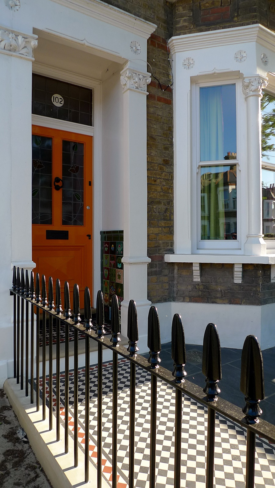 wrought iron rail and gate yellow stock brick wall victorian mosaic yorkstone cheam wimbledon london