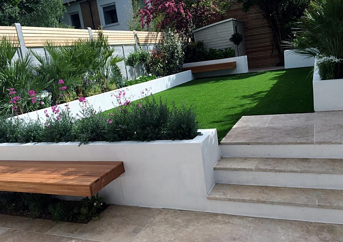 Artificial grass planting London travertine paving Balham Clapham Battersea