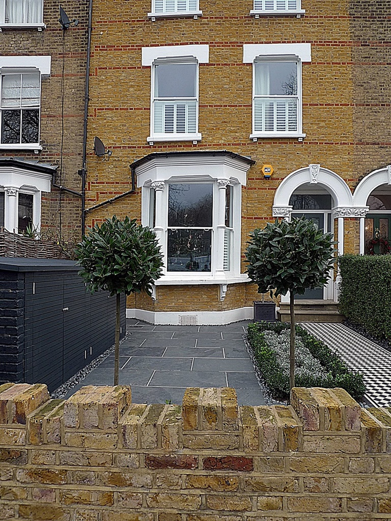Brick garden wall path tile grey topiary London Balham Clapham