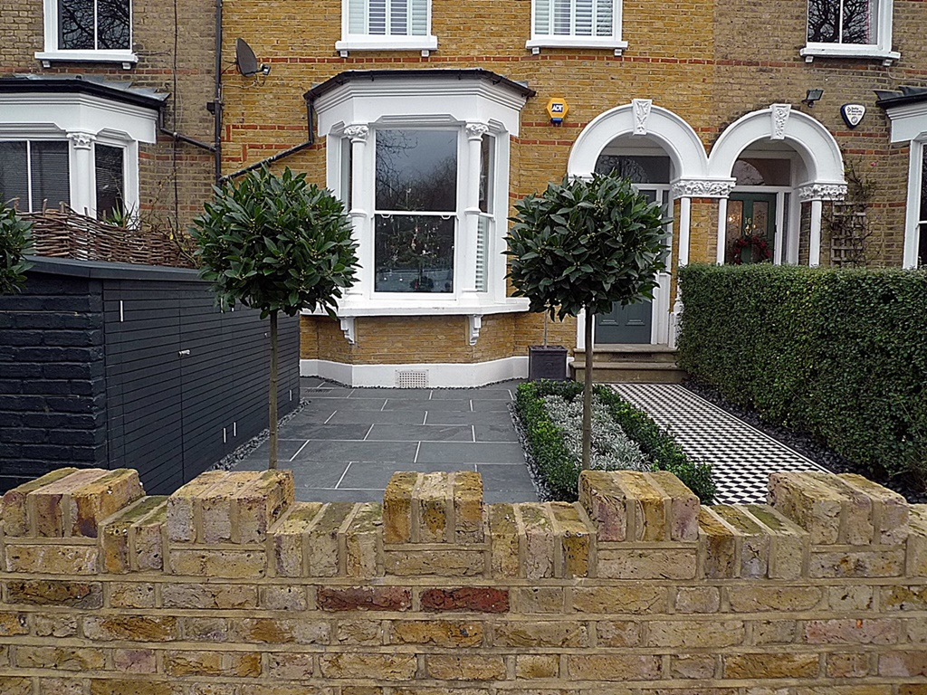 Grey tile path metal rail wrought iron London Battersea Clapham Balham