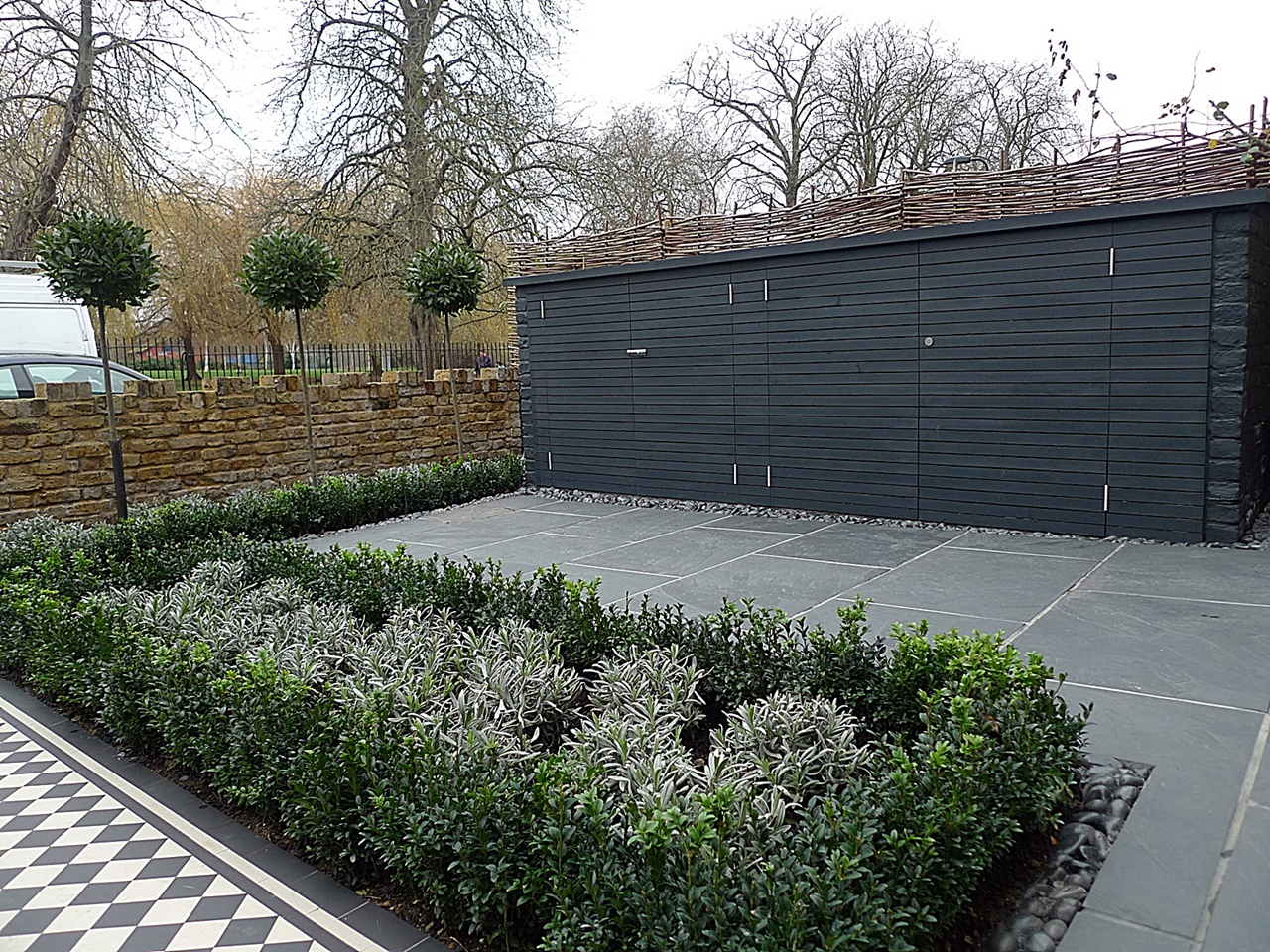 Planting storage bin path grey tile fron garden Chelsea Clapham London