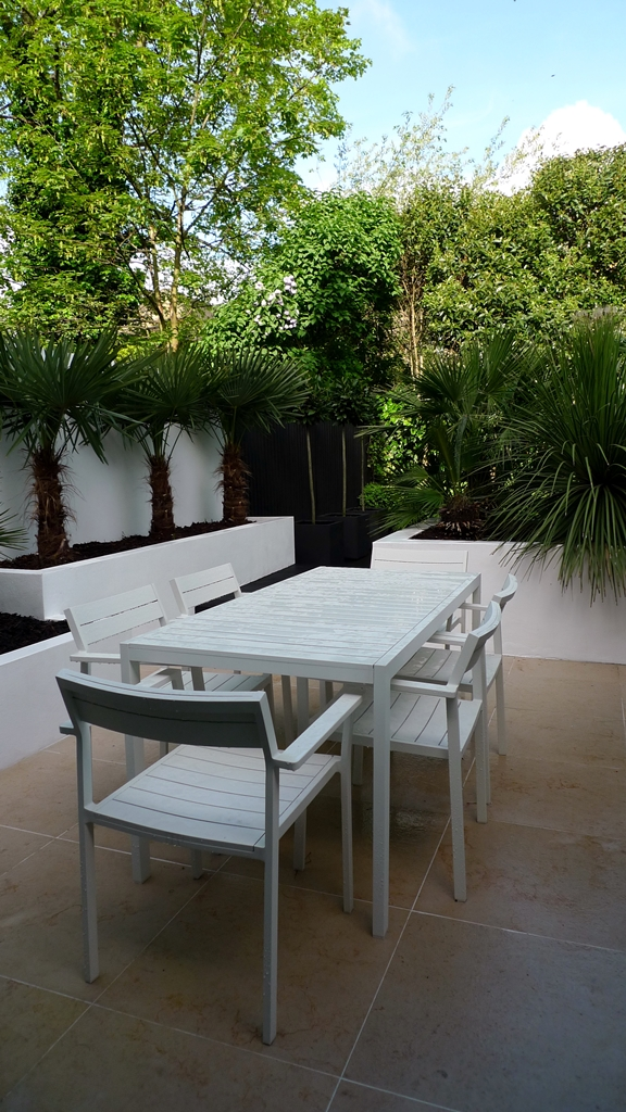 Render plastered beds white privacy screen planting lighting topiary decking formal London Fulham Chelsea