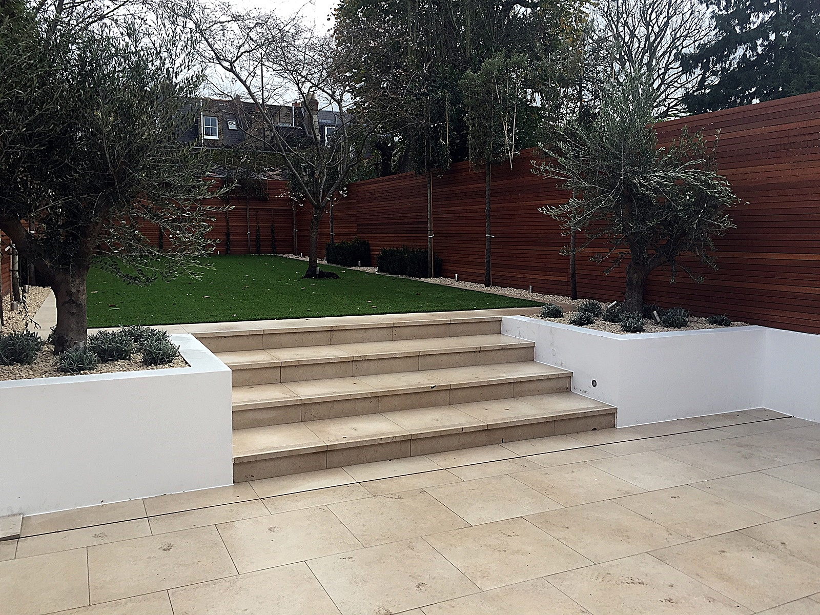 Tile travertine wall path Kensington Fulham Chelsea